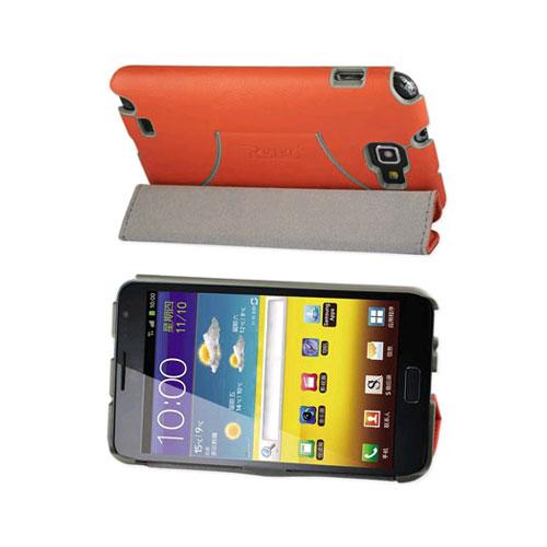 Reiko - Horse Skin Texture Fitting Case for Samsung Galaxy Note I9220  - Orange