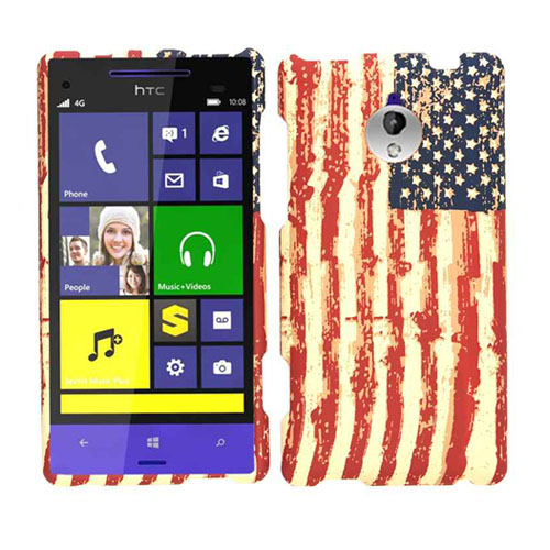 Unlimited Cellular Snap-On Case for HTC 8XT - Distressed USA Flag