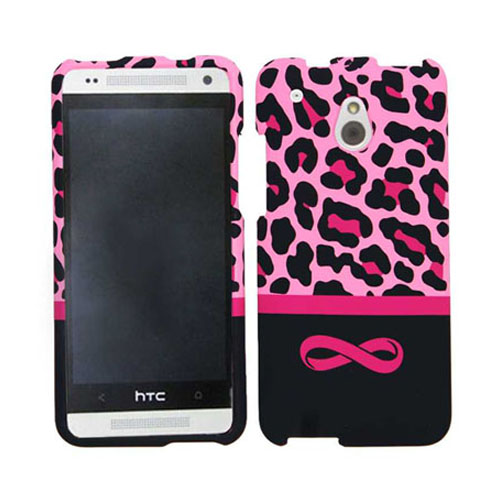 Snap-On Protector Case for HTC One Mini (Pink Leopard with Infinity Logo)