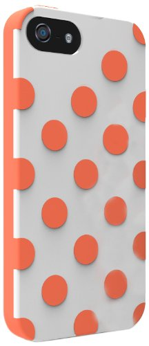 Technocel Polka Dots Dual Protection Case for Apple iPhone 5 - White/Orange