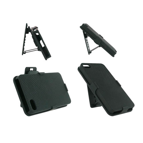 Unlimited Cellular Rubberized Diamond Design Shell Holster Combo for Apple iPhone 4/4S - Black at Sears.com