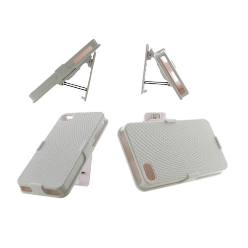 Unlimited Cellular Rubberized Diamond Design Shell Holster Combo for Apple iPhone 4/4S - White