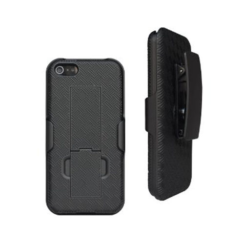 Unlimited Cellular Rubberized Shell Holster Combo with Kickstand for Apple iPhone 5 (Black) at Sears.com