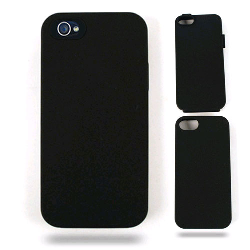 Unlimited Cellular Hybrid Fit On Jelly Case for Apple iPhone 5 / 5S (Black Skin with Black Snap)