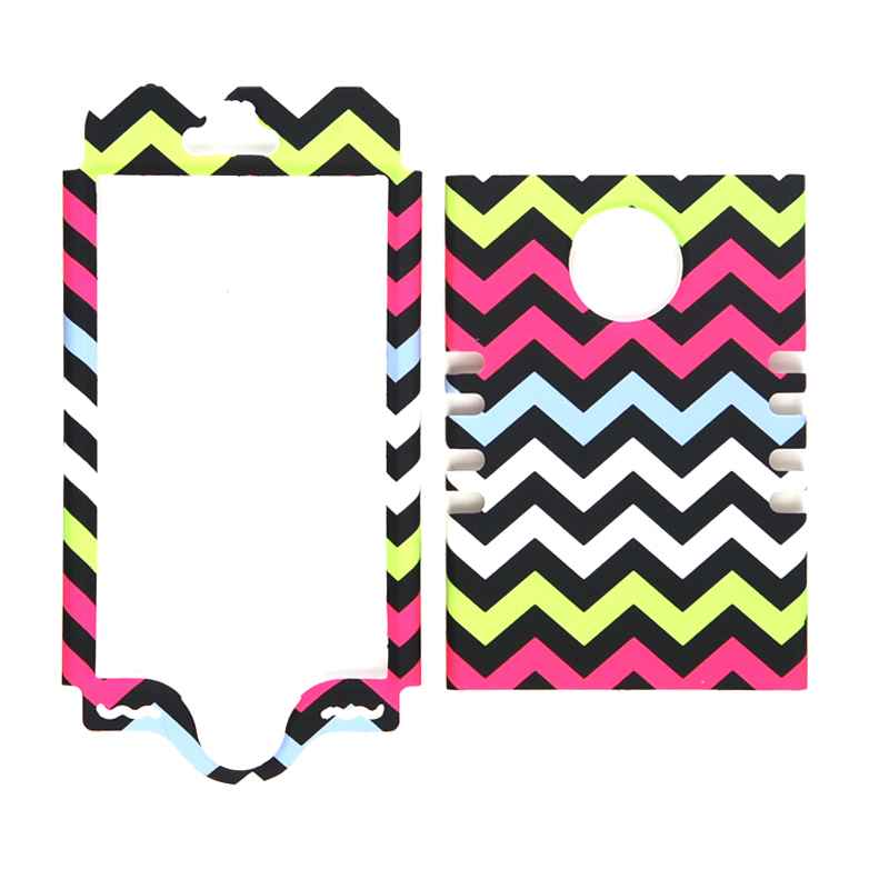 Unlimited Cellular Rocker Snap-On Case for Apple iPhone 5S (Yellow/Pink/Blue/White Chevron on Black)