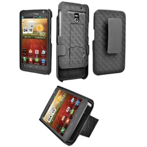 Verizon Rubberized Shell Holster for LG Revolution VS910 with Kickstand - Black