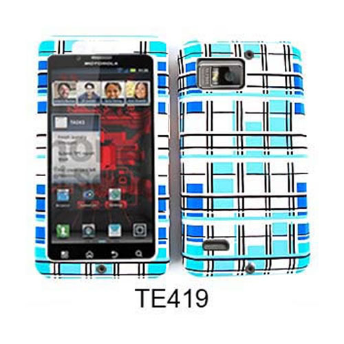 Unlimited Cellular Fit On Jelly Case for Motorola XT875/Droid Bionic (Blue and White Blocks)