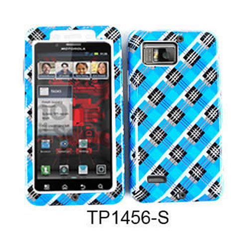 Unlimited Cellular Fit On Jelly Case for Motorola XT875/Droid Bionic (Transparent Design Blue and Black Plaid)
