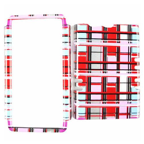 Unlimited Cellular Rocker Snap On Cover for Motorola XT913/Razr Maxx (Transparent Red/Pink/White Blocks)