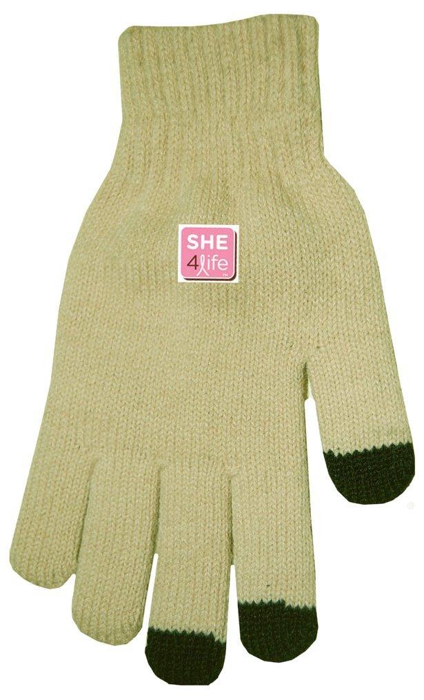 S.H.E. 4Life Breast Cancer Awareness TouchScreen Gloves (Tan/Black Tips)