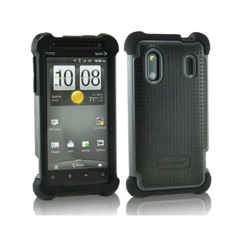 Ballistic Soft Shell Gel Case for HTC Evo Design 4G - Black/Gray