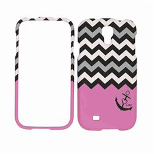 Unlimited Cellular Rocker Snap-On Case for Samsung Galaxy S4 (Black Anchor & Black/White Chevron on Purple)