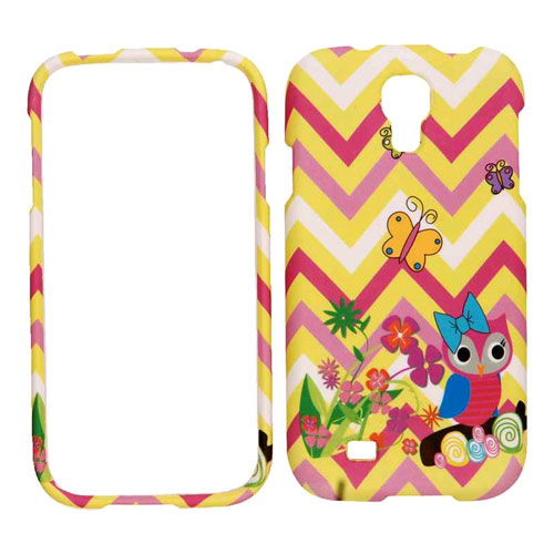 Cell Armor Snap-On Case for Samsung Galaxy S4 - Owl & Butterfiles on YW/PK Chevron