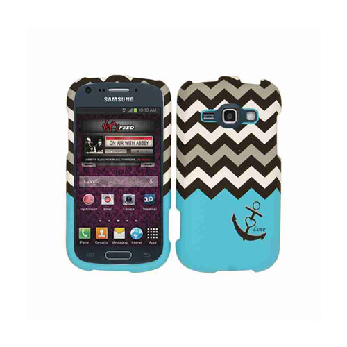 Snap-On Protector Case for Samsung M840 / Galaxy Ring / Prevail 2 (Black Anchor/Black and White Chevron on Blue)