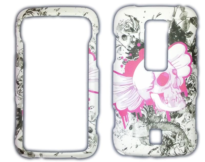 Snap-On Case for for Samsung Freeform II R360 (White/Pink Skulls)