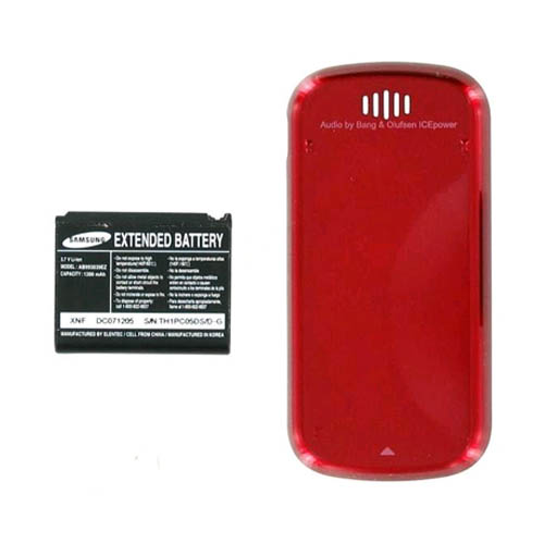 OEM Samsung Trance u490 Extended Battery & Door - Red (Bulk Packaging)