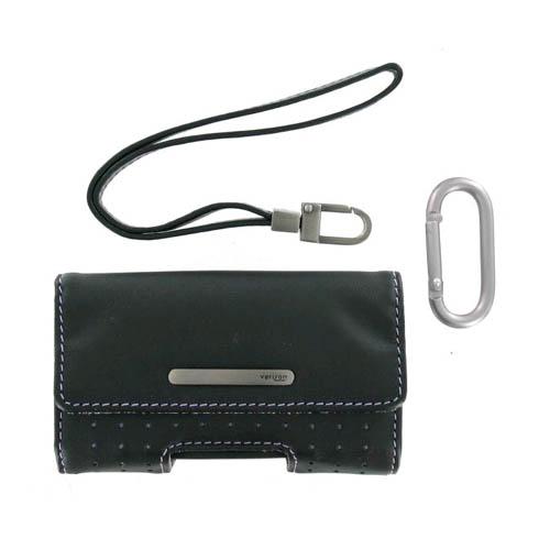OEM Verizon Universal Medium Pouch - Leather, Purple Stitching (Bulk Packaging)