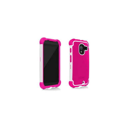 Ballistic Shell Gel Case for Motorola X - Hot Pink/White
