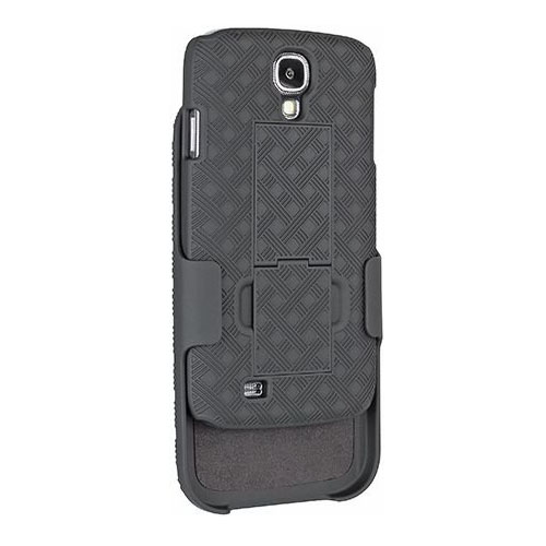 Unlimited Cellular Rubberized Shell Holster Combo with Kickstand for Samsung Galaxy S4 (Black)