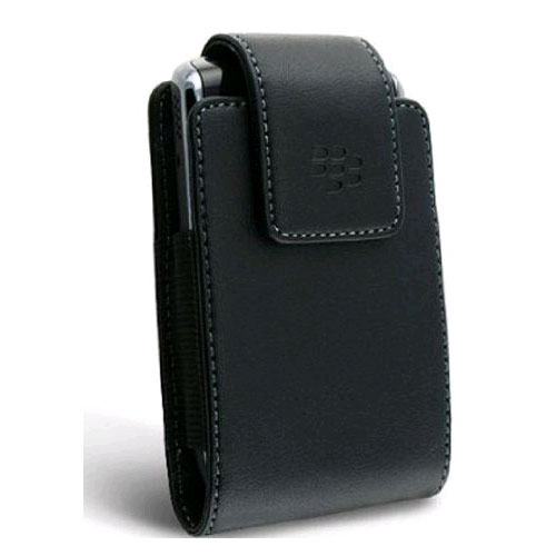 BlackBerry Vertical Leather Case Pouch with Swivel Belt Clip for BlackBerry Tour 9630 (Black)