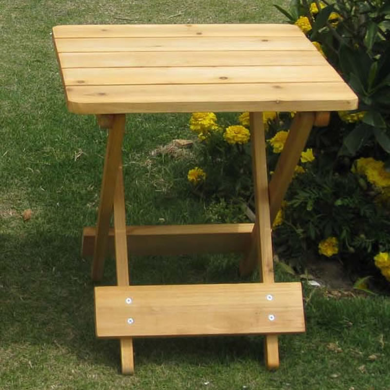 convenient wooden folding outdoor garden patio small folding square side table ebay. Black Bedroom Furniture Sets. Home Design Ideas