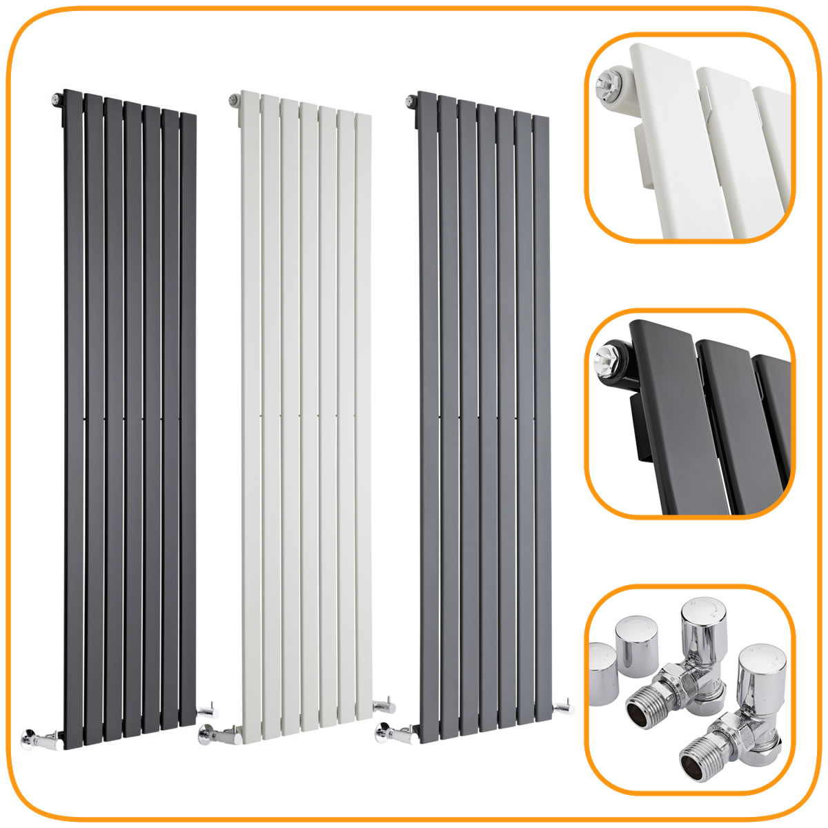 Vertical Slim Panel Column Designer Radiator Modern