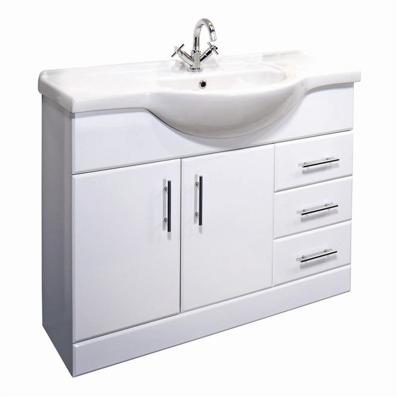 White Gloss Vanity Unit With Ceramic Basin Sink All Sizes