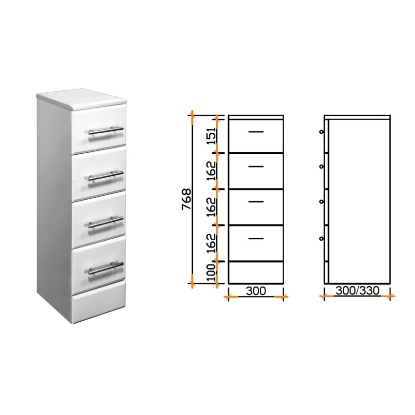 White gloss bathroom vanity storage cabinets drawers for Bathroom cabinets 250mm