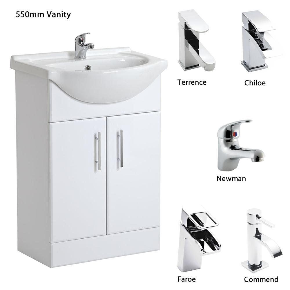 white bathroom vanity units sink basin storage cabinet all sizes tap options ebay