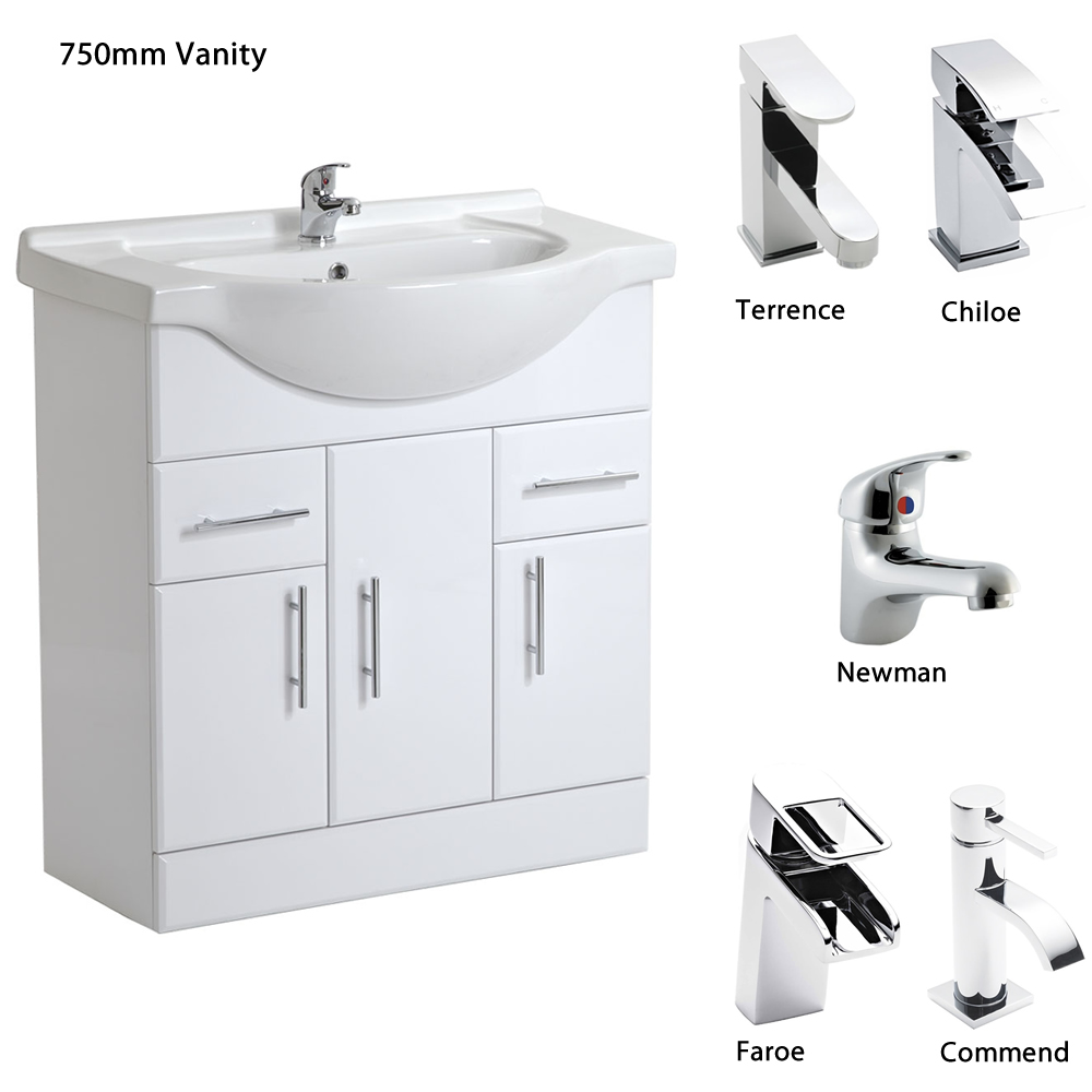 750mm vanity units for bathroom - White Bathroom Vanity Units Sink Basin Storage Cabinet
