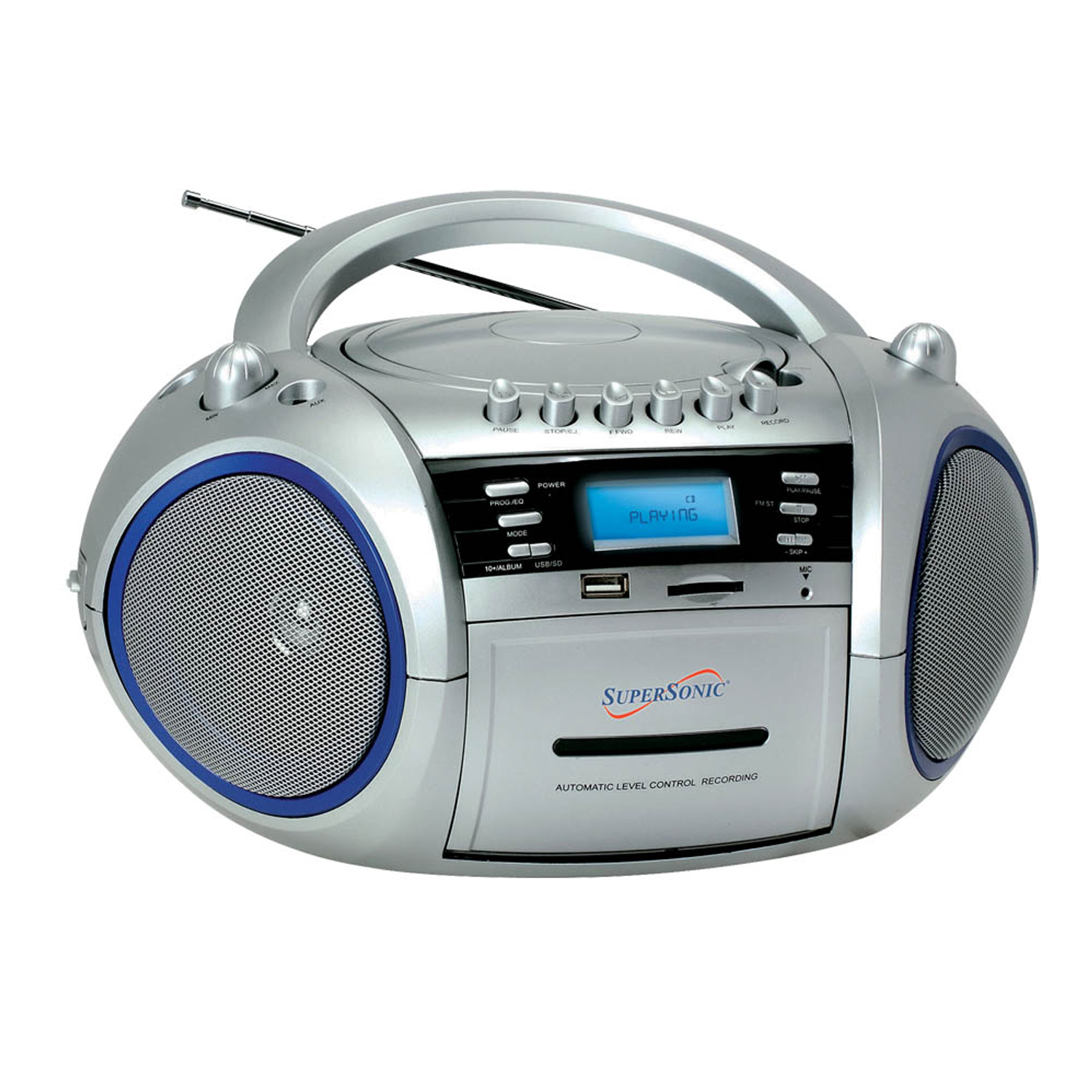 Supersonic SC-183UM Portable MP3/CD/WMA Player, Cassette Recorder, AM/FM Radio with USB/SD/MMC Inputs at Sears.com