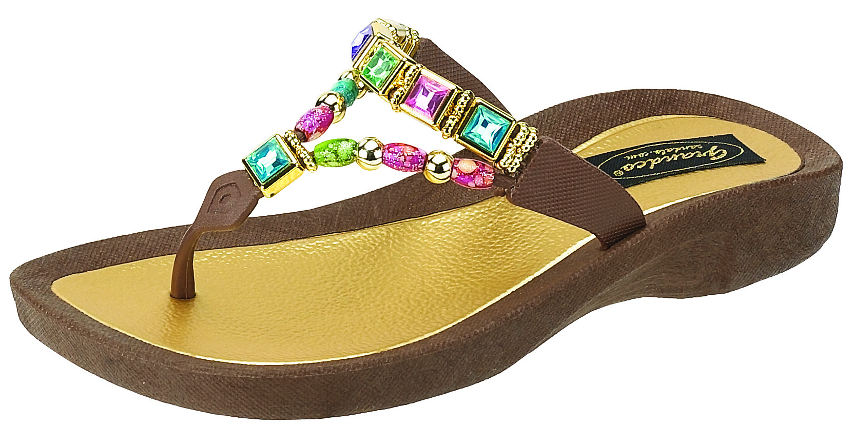Details about Grandco Fantasy Thong Sandals - Brown - 8