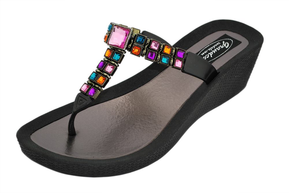 Grandco Womens Brilliance Wedge Thong Sandals