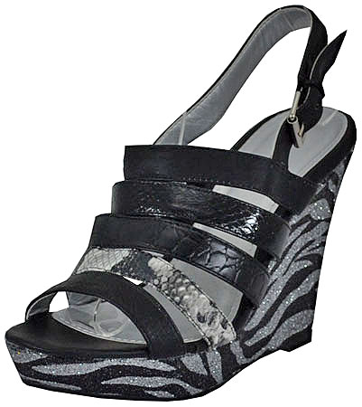 Women's Lena-333 Black Wedge Sandals