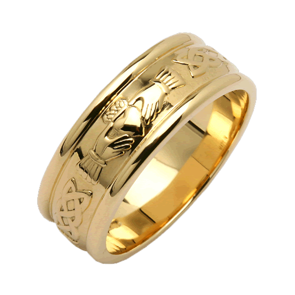 Mens 14k Yellow Gold Wide Rounded Claddagh Wedding Ring Size 9 EBay