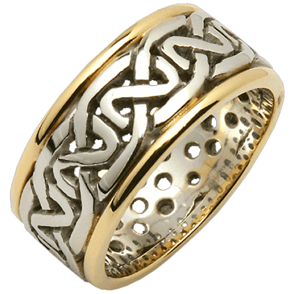 Mens 14k Gold Two Tone Celtic Knot Wedding Ring Made In Ireland