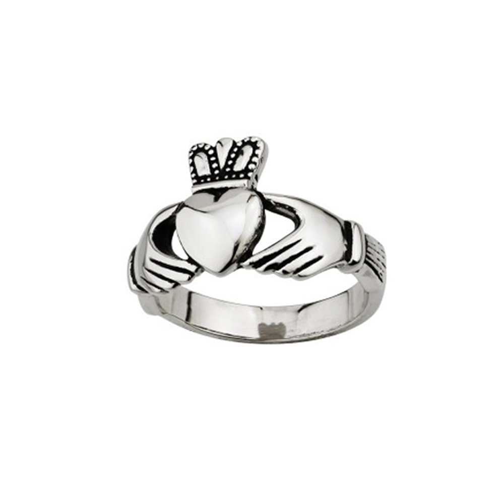 claddagh ring mens stainless steel sz 9 13 irish made ebay. Black Bedroom Furniture Sets. Home Design Ideas