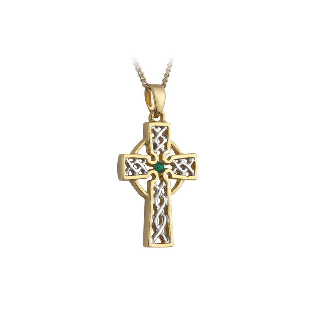 new celtic cross necklace silver gold plated synthetic. Black Bedroom Furniture Sets. Home Design Ideas