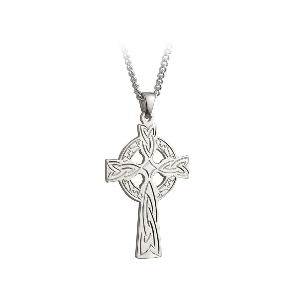new celtic cross necklace mens silver irish made failte ebay. Black Bedroom Furniture Sets. Home Design Ideas