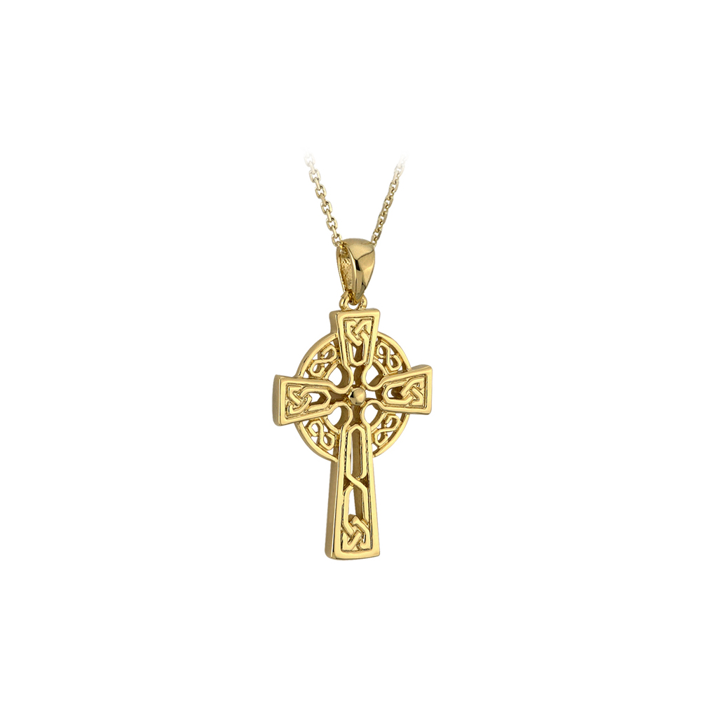 new celtic cross necklace 10k gold 2 side 18 chain irish made. Black Bedroom Furniture Sets. Home Design Ideas