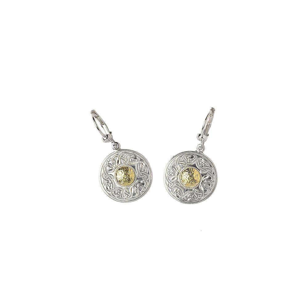new celtic warrior drop earrings small silver 18k yellow