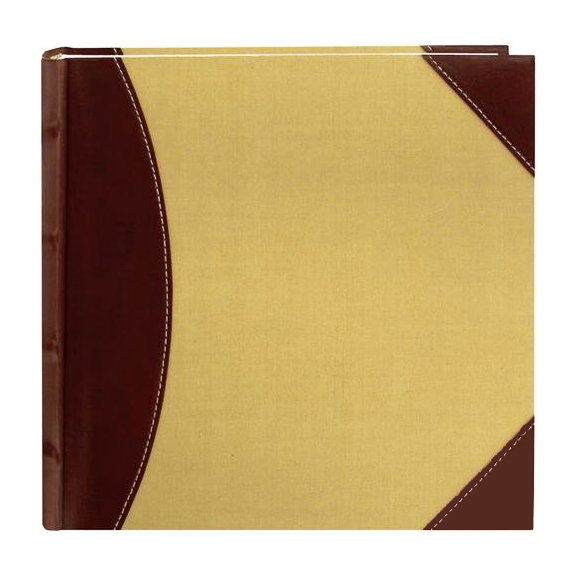 Pioneer High Capacity Sewn Fabric & Leatherette Cover Photo Album Brown on Beige