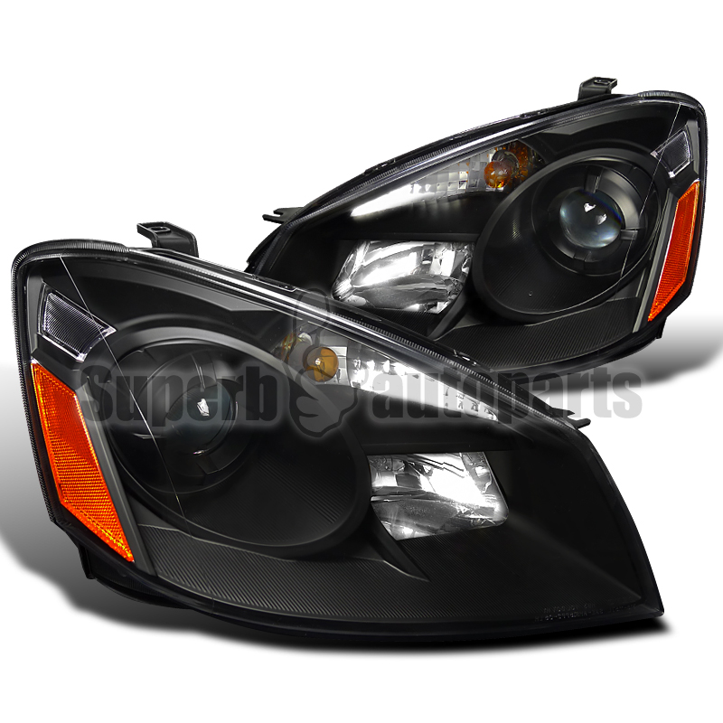 Headlights For 2006 Nissan Altima: For 2005-2006 Altima Depo Projector Headlights Pair Black
