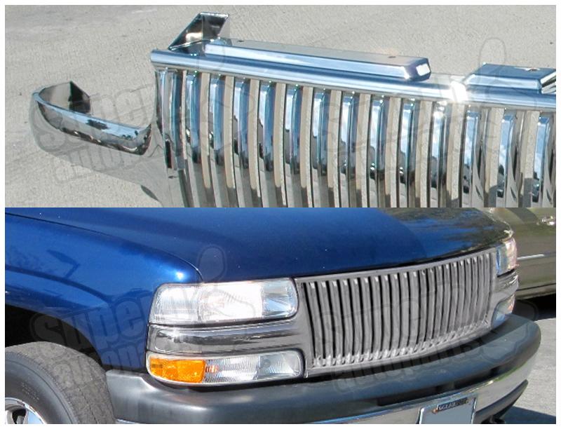 1999 2002 silverado 2000 2005 tahoe suburban vertical front grille chrome ebay