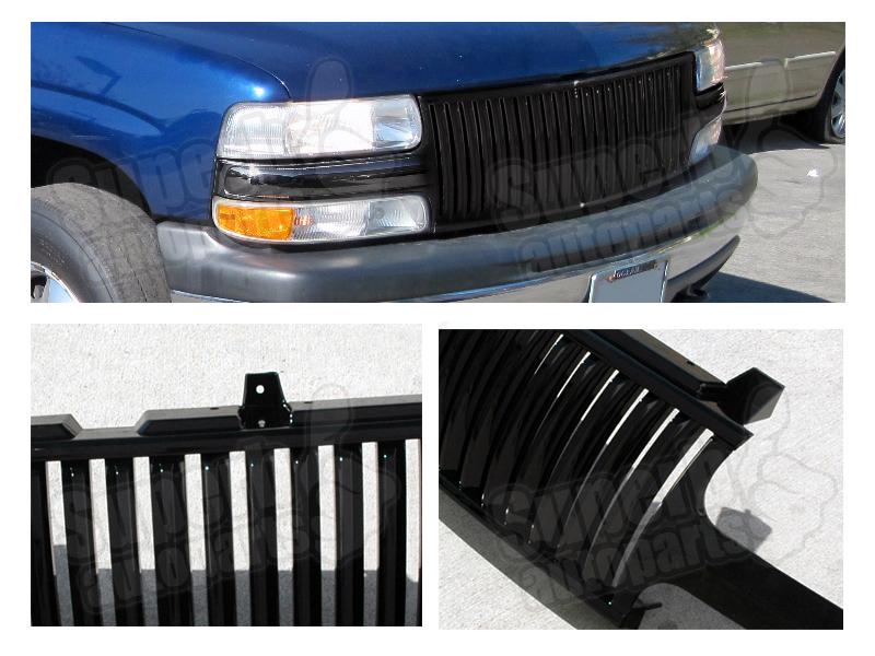 1999 2002 silverado 2000 2005 tahoe suburban vertical front grill black ebay