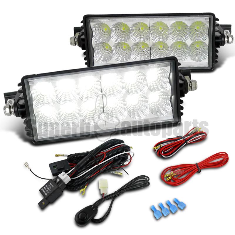 2pcs 7 5 quot x3 5 quot 12 led flood beam driving work light 36w fog l switch wiring