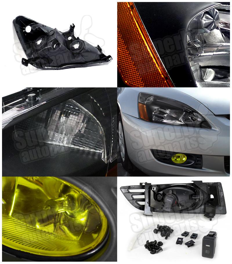 2003 Honda Accord Headlight Wiring Harness : For  honda accord dr coupe headlights black