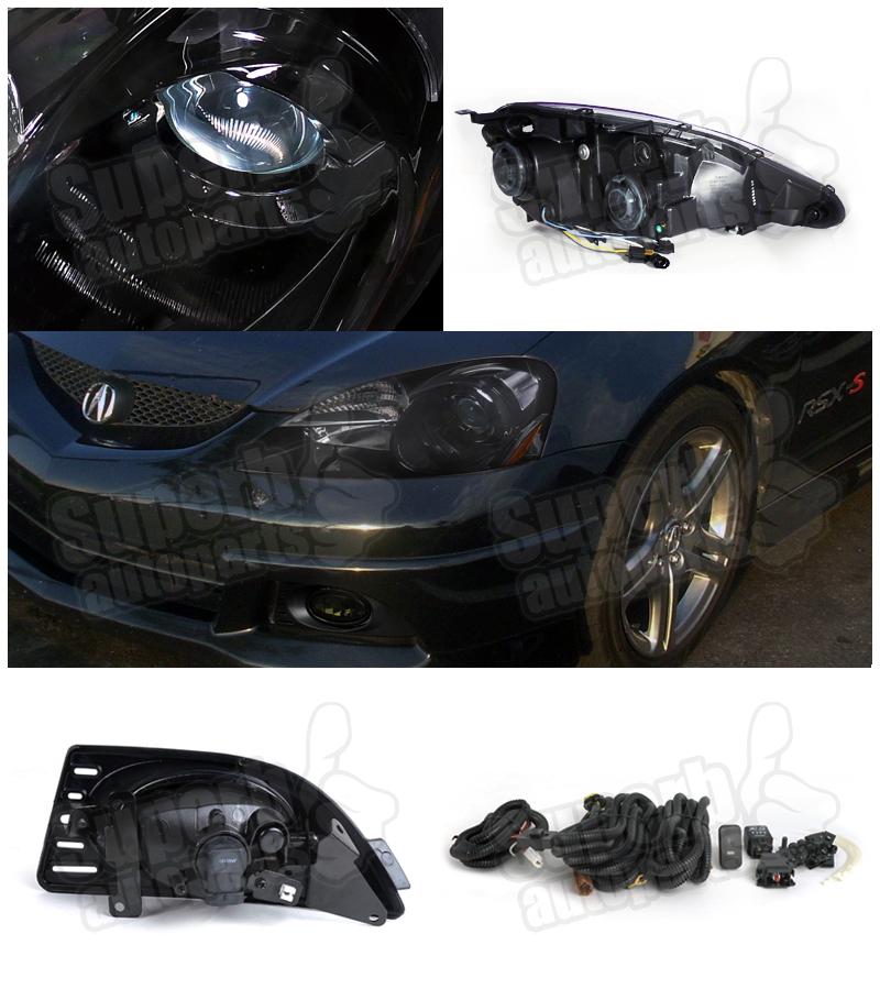 2005-2006 Acura RSX Projector Headlights Depo Black