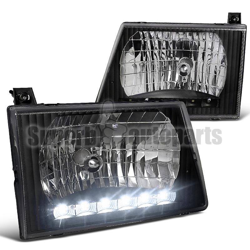 1992 250  350  450 Econoline Van Smd Led Drl Headlights Black