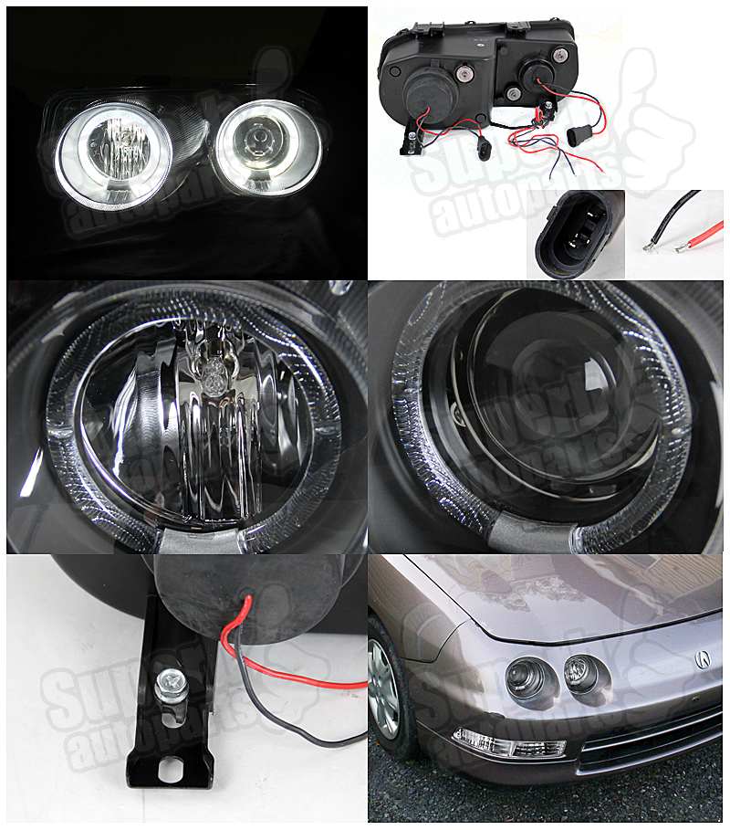 Acura Integra Headlights: 1994-1997 Acura Integra JDM Dual Halo Projector Headlights